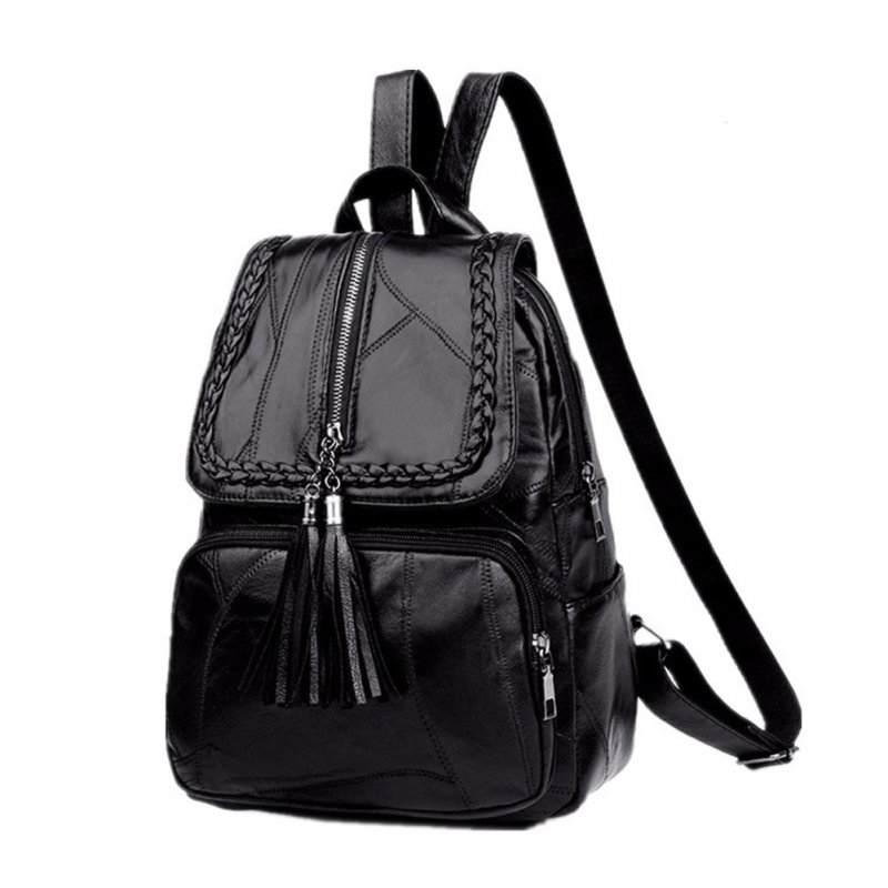 Women's Travelling Backpack PU Waterproof Outdoor Zipper School Bag Stitching 1640 black