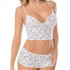 Women's Underwear Suits  Sexy Lace Transparent Sling Bra+ Lace Underpants white_M
