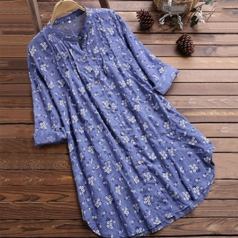 Women's V Neck Floral Print Long Sleeve Casual Blouse Top blue_5XL