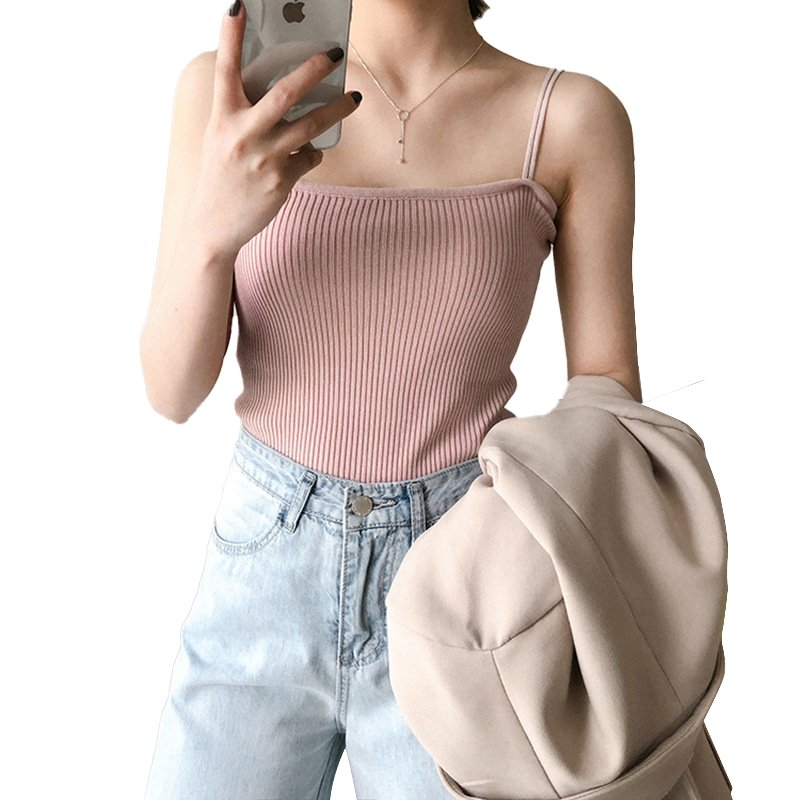 Women's Vest Spring Summer Knitted Camisole Slim Solid Color Bottom Vest Pink_free size