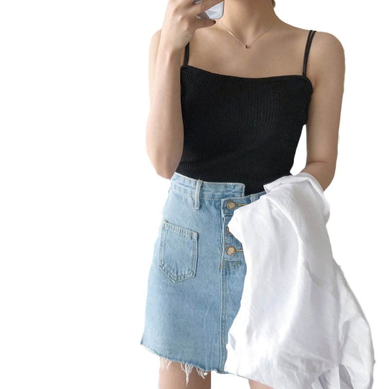 Women's Vest Spring Summer Knitted Camisole Slim Solid Color Bottom Vest black_free size