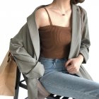 Women's Vest Spring Summer Knitted Camisole Slim Solid Color Bottom Vest Khaki_free size