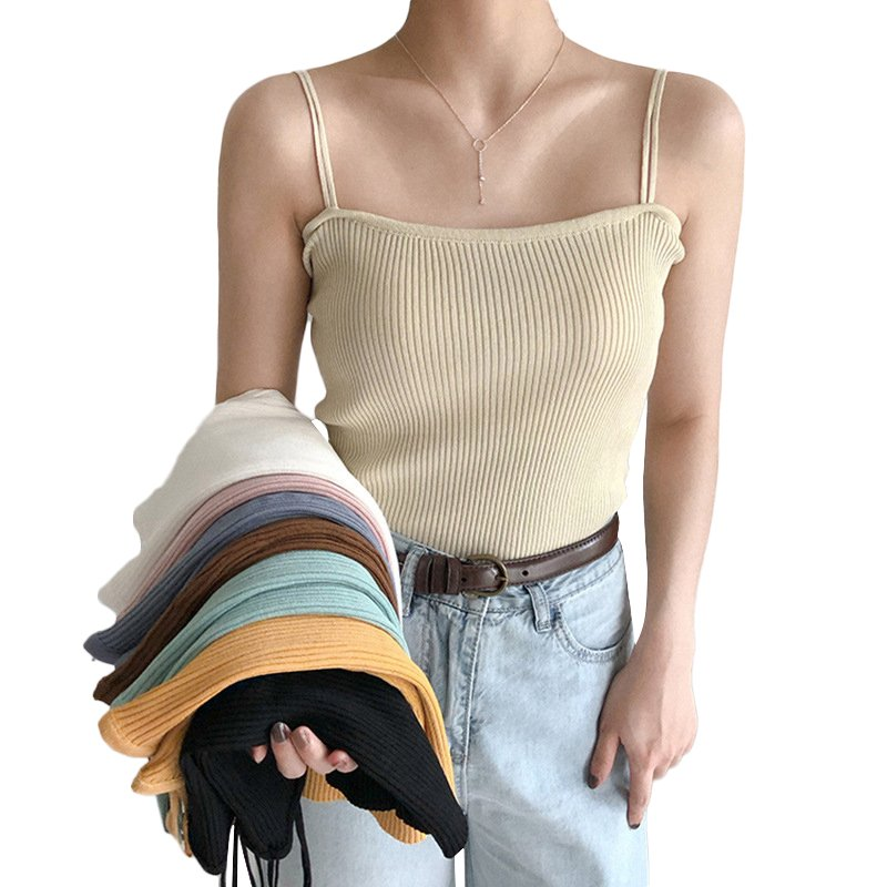 Women's Vest Spring Summer Knitted Camisole Slim Solid Color Bottom Vest apricot_free size