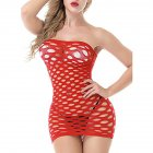 Womens Mesh Chemise Dress Fishnet Lingerie Babydoll Nighties Minidress Perspective Lingerie Sexy Costumes red_One size