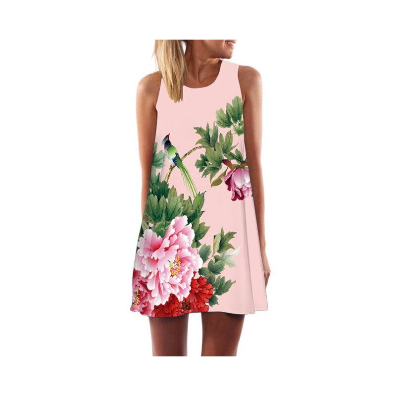 Womens dresses Casual Sleeveless Loose Floral Print Mini Dresses  Summer 2017 Vestidos Woman Clothing Dress