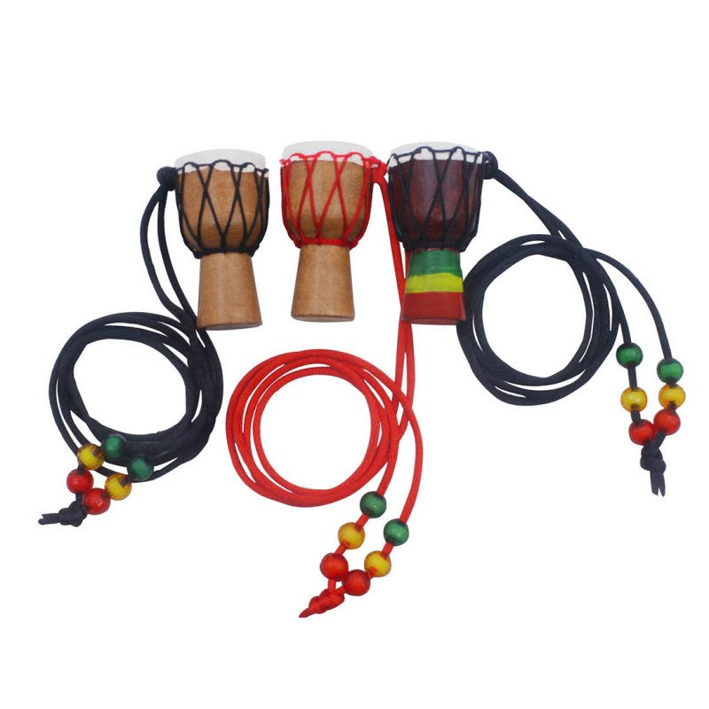 Wooden Classic Mini Djembe Necklace Percussion African Hand Drum Pendant Gift  random