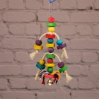 Wooden Colored Block Chewing Biting Toy for Bird Parrot Pet Cage Hanging Pendant As shown