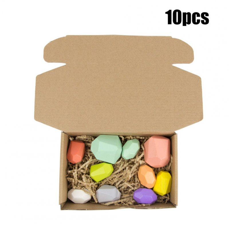 Wooden Colored Stone Building Block Educational Toy Stacking Game Toy color version C (a set of 10)