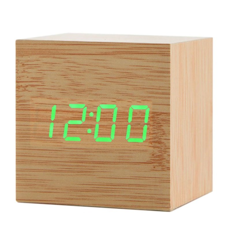 Wooden Digital Alarm Clock LED Light Multifunctional Modern Cube Displays Date Temperature for Home Office Bamboo wood green word