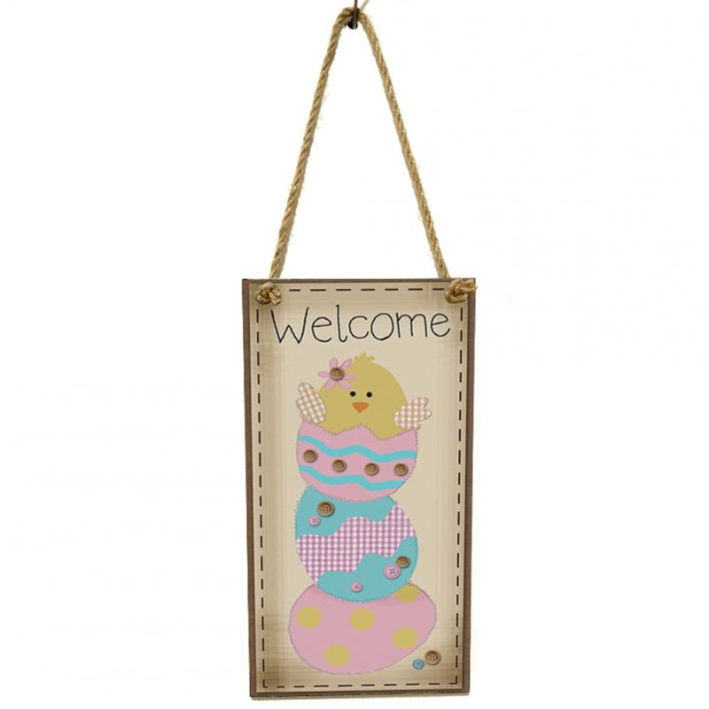Wooden Easter Chick Rabbit Pattern Rectangle Plaque for Door Hanging Decoration Craft JM01147