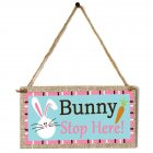 Wooden Easter Chick Rabbit Pattern Rectangle Plaque for Door Hanging Decoration Craft JM01150
