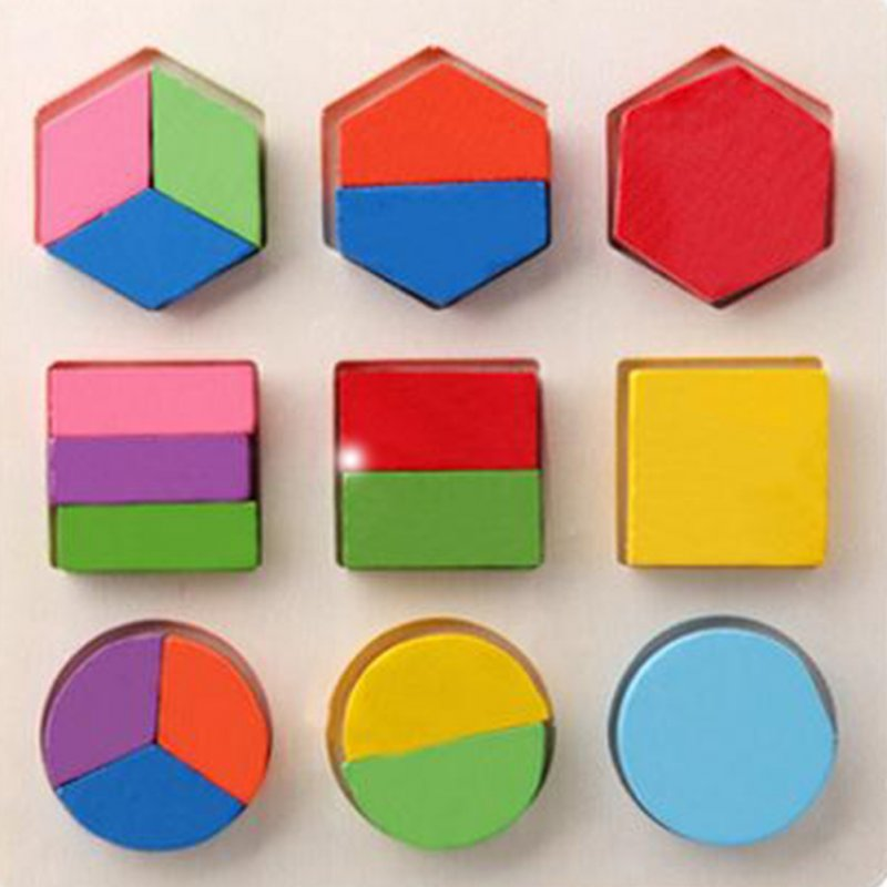 Wooden Geometric Shapes Sorting Math Puzzle Board Educational Game Toy for Kids Baby Toddler Shape halving plate (one third)_15*15*0.6