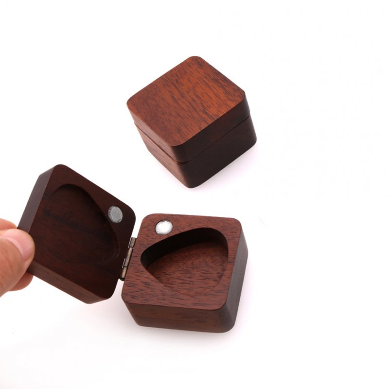 Wooden Guitar Pick Plectrum Box for 4pcs Picks Hold  Wood color
