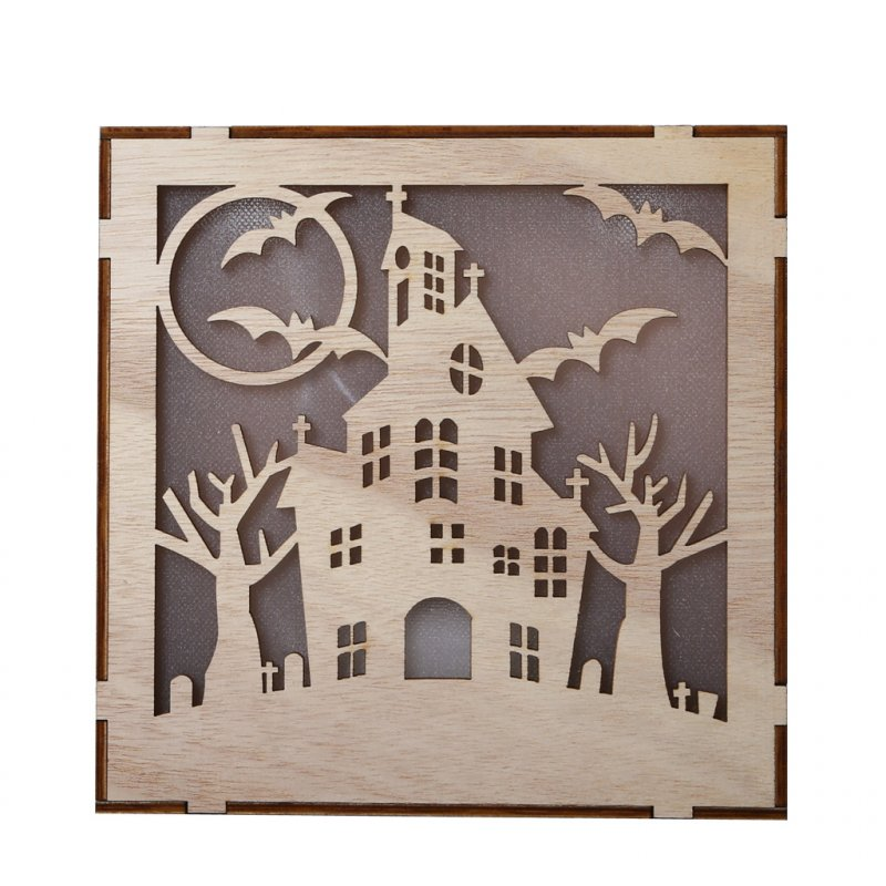 Wooden Hollow Hanging Pendant Pumpkin Haunted House LED Lights 3D Halloween Party Decoration Crafts JM01498