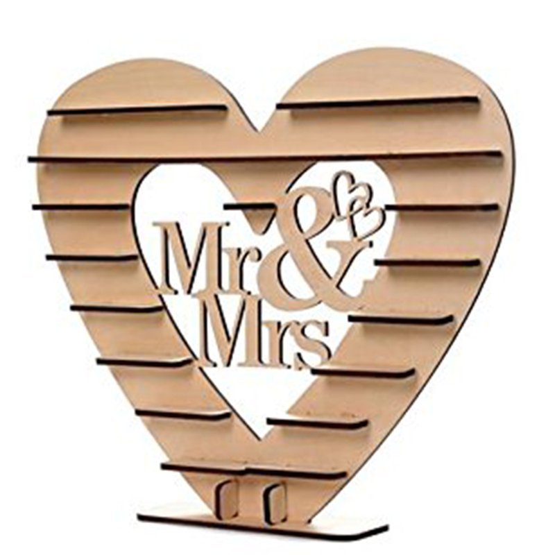 Wooden Mr & Mrs Heart Chocolate Display Tree Stand Wedding Centrepiece Decoration 45.5 * 41 * 3cm