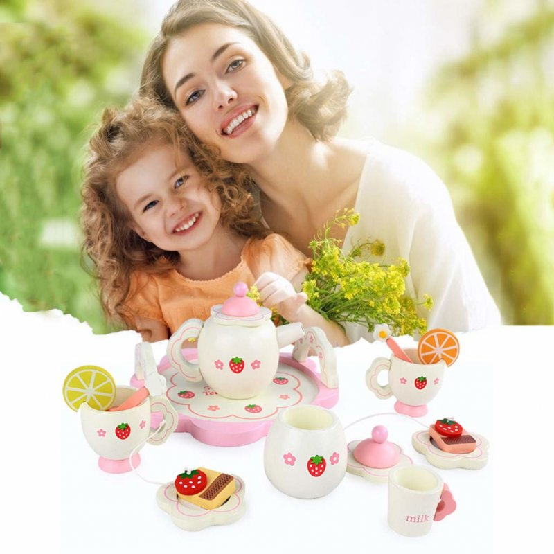 Wooden Simulation Tea Set Pot Cups Spoons Intelligence Children Play House DIY Toy Gift