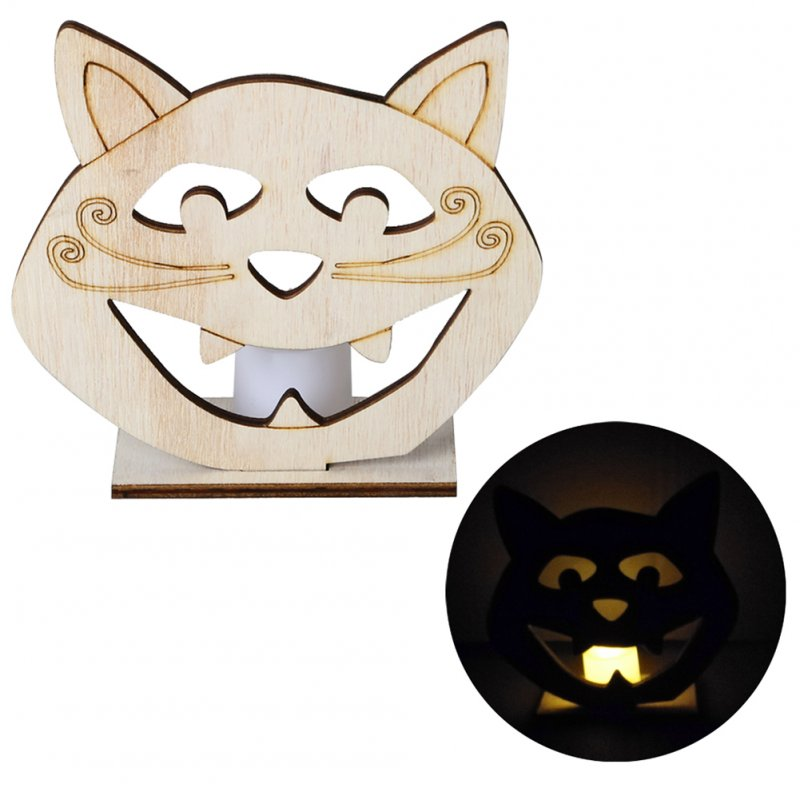 Wooden Skull/Pumpkin/Cat Shape LED Candle Light Decoration for Home Craft Cat