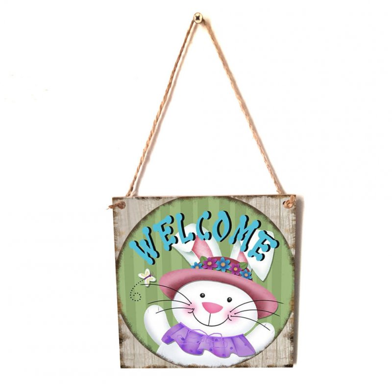Wooden Square Happy Easter Chick/Rabbit/Crucifix Pattern Plaque for Home Hanging Pendant Decorative Craft JM01143