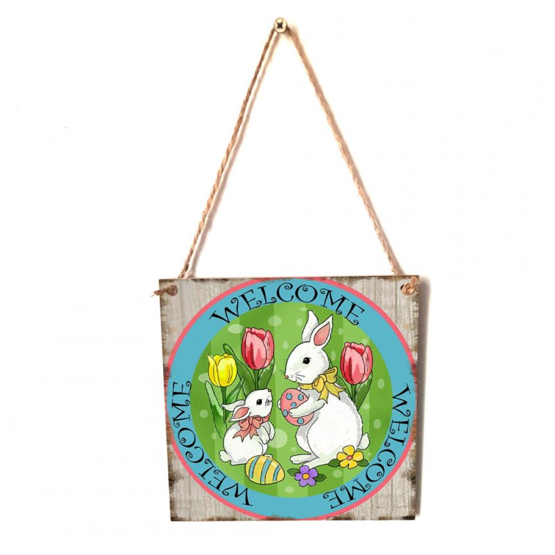 Wooden Square Happy Easter Chick/Rabbit/Crucifix Pattern Plaque for Home Hanging Pendant Decorative Craft JM01145
