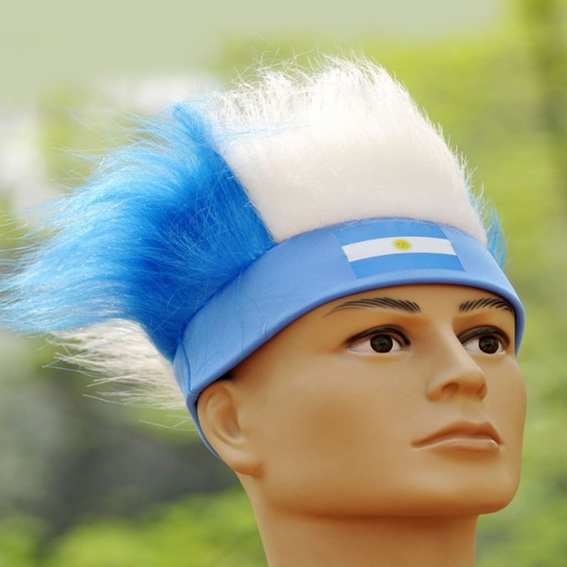 World Cup Football Fans Hats with National Flag Color Wig Football Headband National Flag Headwear