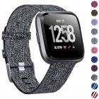 Woven Watch Band Compatible with Fitbit Versa/Fitbit Versa 2/Fitbit Versa Lite Edition Breathable Fabric Strap for Men Women Smartwatch Carbon black