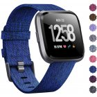 Woven Watch Band Compatible with Fitbit Versa/Fitbit Versa 2/Fitbit Versa Lite Edition Breathable Fabric Strap for Men Women Smartwatch Navy blue