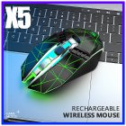 X5 Wireless Gaming Mouse Rechargeable 500mAh Battery Bluetooth 3.0+5.0+2.4G Wireless Optical Mice Adjustable DPI Levels for Laptop PC Mac Star black