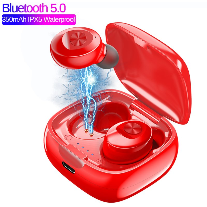 XG12 TWS Earphones Bluetooth5.0 Sports Headphones Wireless Connection Compatible for Cellphone Tablet Laptop  red