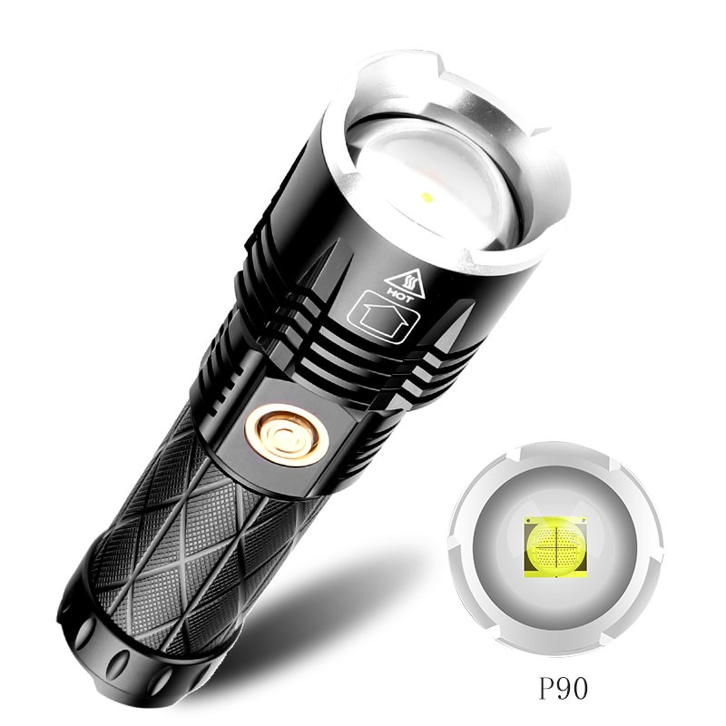 XHP 90 LED Flashlight Waterproof Zoom Torch USB Charging Camping Lamp black_Model 1619