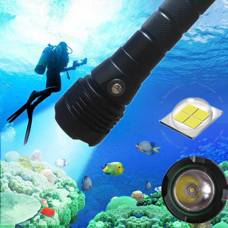 XHP50 Diving Flashlight LED 4000 Lumens Underwater Lamp with Charging Display White light 6500K