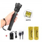 XHP70 Zoomable Focus LED Flashlight High Brightness Battery Display Torch with 2 Batteries Charger 2x26650 battery