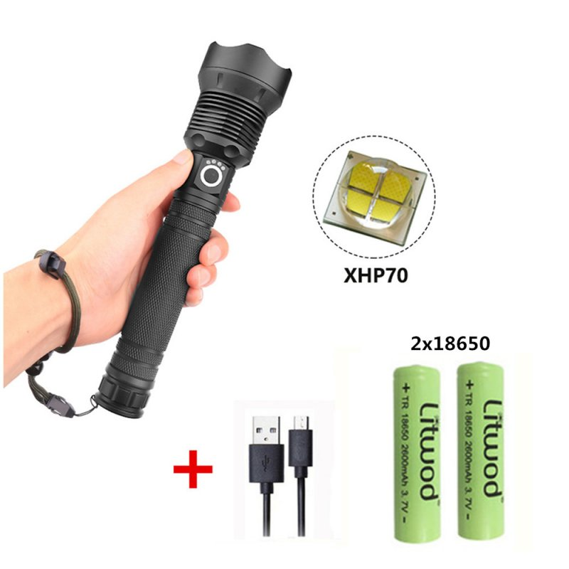 XHP70 Zoomable Focus LED Flashlight High Brightness Battery Display Torch with 2 Batteries black_2x18650 battery