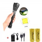XHP90 LED 3 Modes Dimming Flashlight High Brightness USB Charging Torch with 2 Batteries Charger black_2 batteries + charger