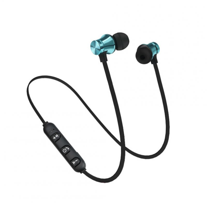 XT11 Magnetic Bluetooth 4.2 Earphone Sport Running Wireless Neckband Headset Headphone with Mic Stereo Music for Android blue
