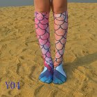 XY Fancy Mermaid Tail Pattern Cosplay Stocking Elastic High Knee Casual Socks Fish Scale Colorful Y04