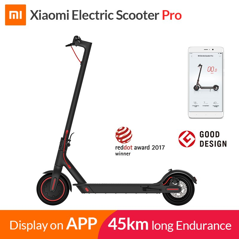 Xiaomi PRO Electric Kick Scooter for Adults Teens Fodable and Portable Design Max 25Km/H Speed 100Kg Payload black