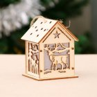 Xmas Luminous Wooden House Hotel Christmas Tree Window Decoration Pendant Ornaments DIY Gift S-4#