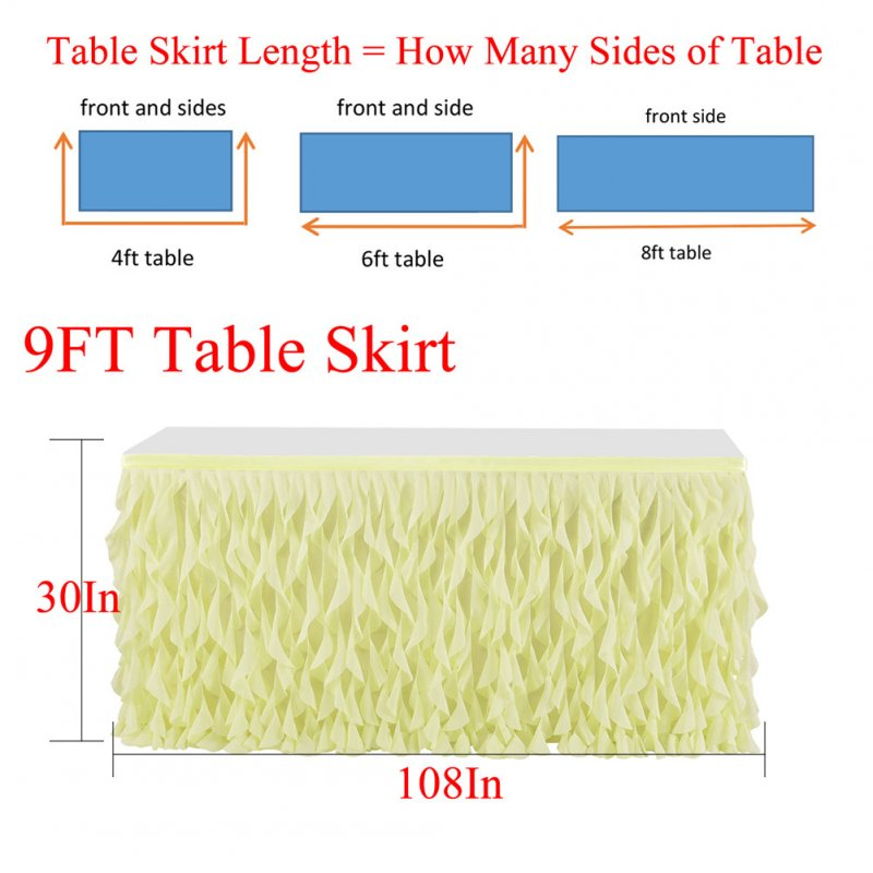 Yellow Chiffon Tulle Table Skirt with Magic Sticker for Party Wedding Decoration 9FT