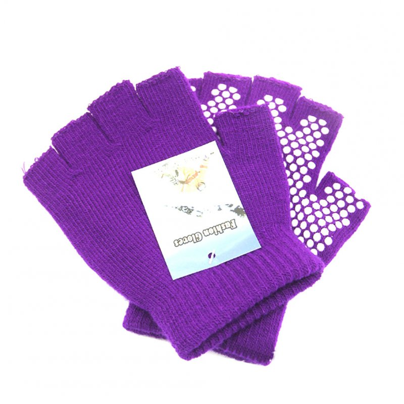 Yoga Half Finger Gloves Non-slip Cycling Gloves Gym Anti-skid Training Workouts Hands Protector purple_One size