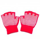 Yoga Half Finger Gloves Non slip Cycling Gloves Gym Anti skid Training Workouts Hands Protector Rose red One size