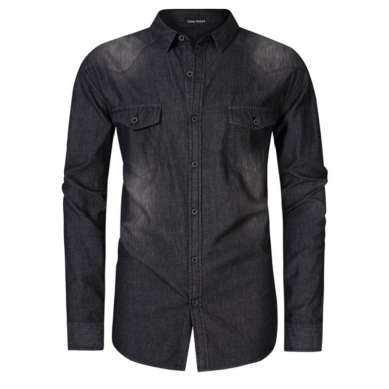 Yong Horse Men's Denim Shirt - Black 2XL