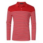 Yong Horse Men s Casual Long Sleeve Striped Slim Fit Polo T Shirts Red Red