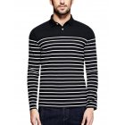Yong Horse Men s Casual Long Sleeve Striped Slim Fit Polo T Shirts Black Black