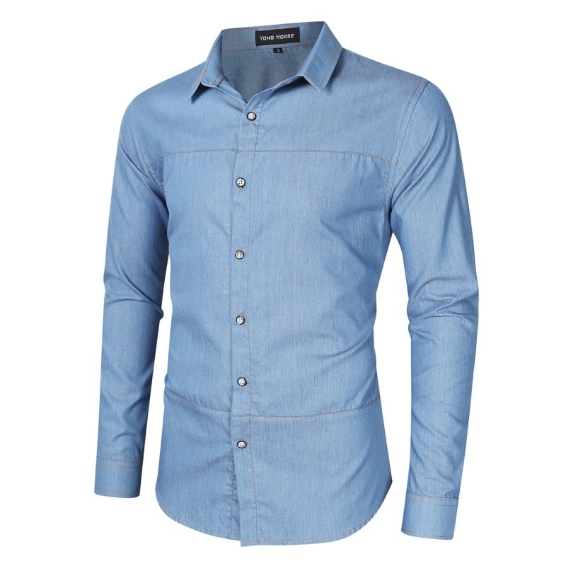[US Direct] Yong Horse Men's Casual Slim Fit Button Down Long Sleeve Denim Shirt Light blue_XL