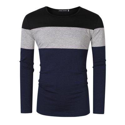 Yong Horse Men's Color Block Slim Fit Crew Neck Long Sleeve Basic  T-ShirtVPTT