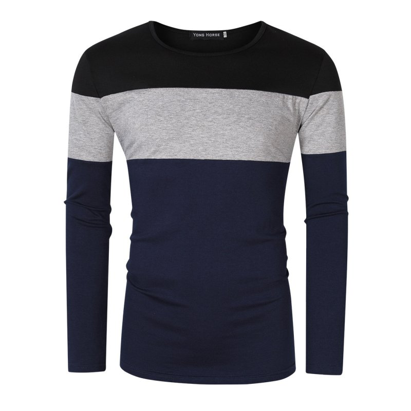 [US Direct] Yong Horse Men's Color Block Slim Fit Crew Neck Long Sleeve Basic T-Shirt