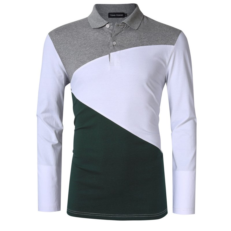 Men's Color Blocked Long Sleeve Polo Shirt