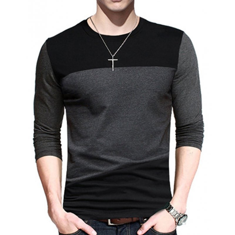 Yong Horse Men's Contrast Color Crew Neck Long Sleeve Basic T-Shirt Top Black-grey_2XL