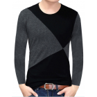 Yong Horse Men s Contrast Color Crew Neck Long Sleeve Basic T Shirt Top Black grey XL