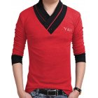 [US Direct] Yong Horse Men's Slim Fit Button V-Neck Casual Long Sleeve T Shirts Fall Tops Red + black_XXL